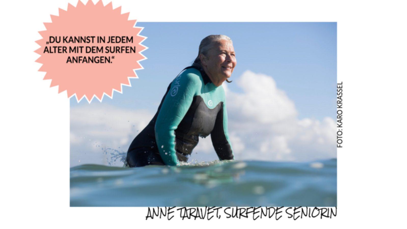 """Photo of Surfende Seniorin: """"Beim Surfen vergesse ich jeden schlechten Gedanken."""""""